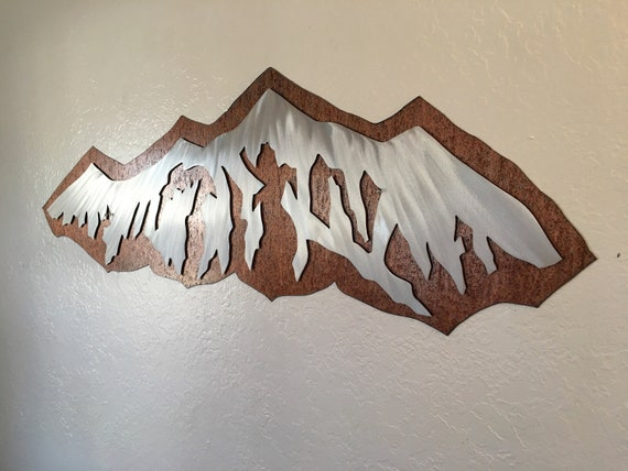 Modern mountains. Ski town artwork, Cabin decor, Fireplace artwork. 3ft