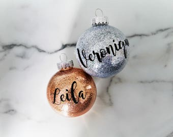 Baby's first Christmas GLITTER CALLIGRAPHY CURSIVE ornament custom name bulb rose gold xmas tree ornament topper tradition christmas eve box