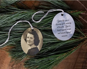 Missed beyond measure memorial ornament. Christmas present for widow. Heaven ornament family photo ornament. Because someone we love gift