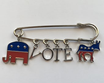 VOTE Voter's Election Day Kilt Safety Pin - Charms: Elephant (Republican), Lightweight NON-Metal Silver Tone Letters, Donkey (Democrat)