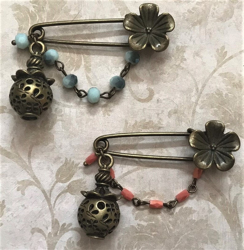 Rectangular Opaque Coral OR Sky Blue Round Faceted Crystal Beads Chinese Lantern Lamp Asian Chinese Lantern Kilt Safety Pins Floral Pin