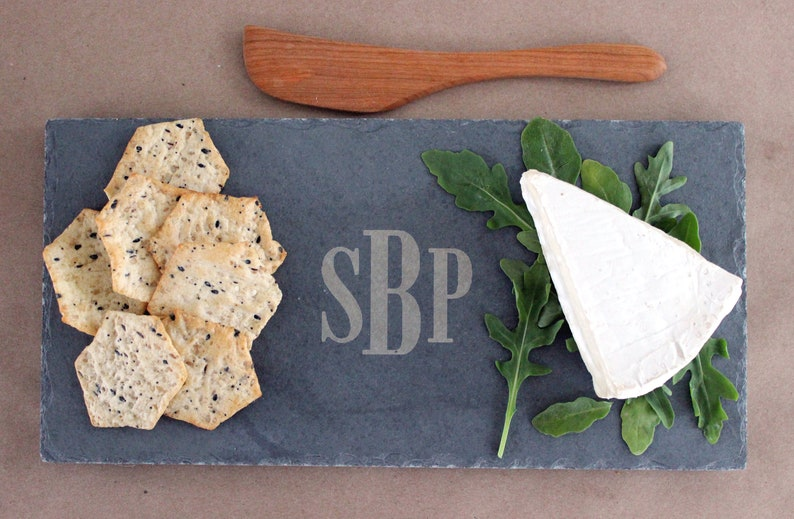 Custom Monogrammed Slate Cheese Board  4-piece set  4 colors image 0