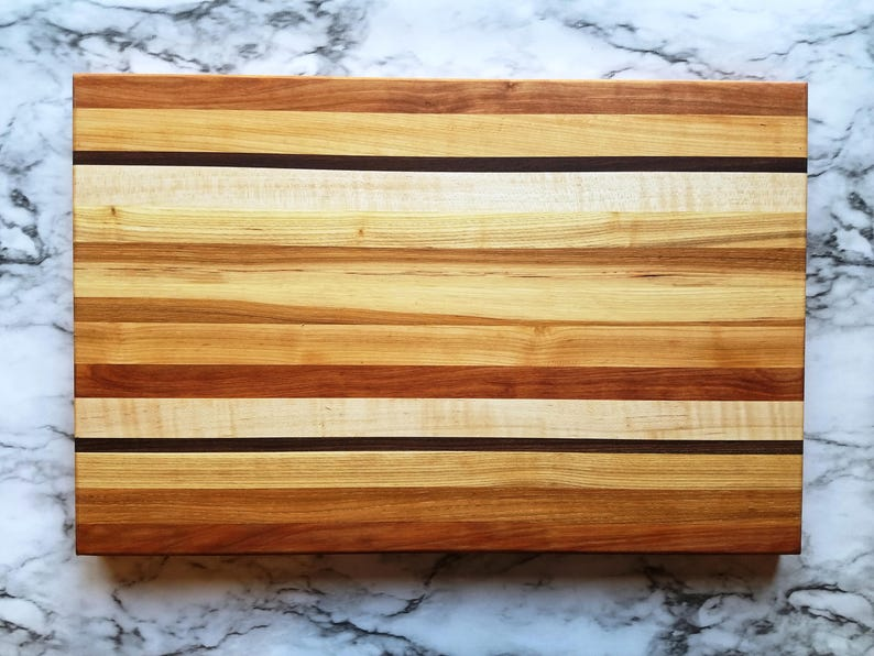 Large Multi-Color Rectangle Wood Cutting Board Random Layout image 0