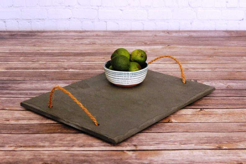 Slate Serving Tray With Handles Farmhouse Tray Wedding Gift image 0