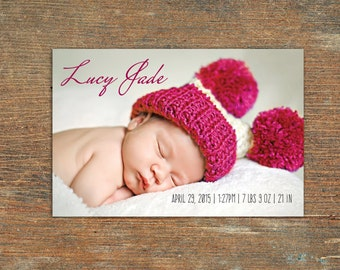 Birth Announcement, New Baby, Customizable, Printable