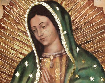 Our Lady of Guadalupe Virgin Mary Religious Art Prints that GLOW (Half Body Image)