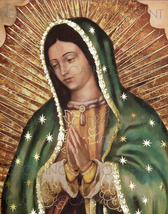 Our Lady Of Guadalupe Virgin Mary Religious Art Prints That Etsy