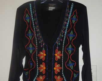 12d805a61ad0 Gantos Vintage Black Colorful Embroidered and Beaded Button Down Waist  Length Jacket Size Large