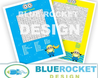 Minion 2 Different Word Search Party Games - Instant Download 300 dpi