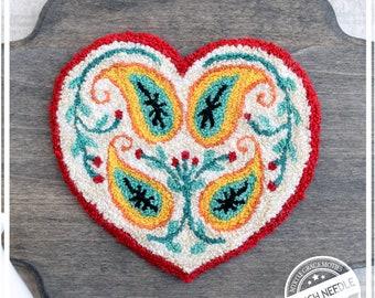 Scandinavian Heart  Punch Needle Pattern & Fabric
