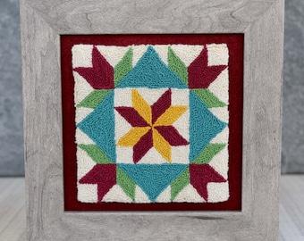Dutch Girl Barn Quilt Punch Needle Pattern + Fabric