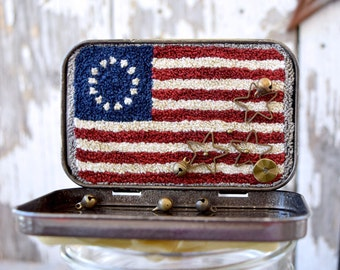 Betsy Ross Flag Punch Needle Pattern, Fabric, & Buttons