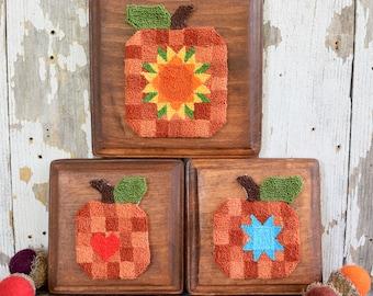 Patchwork Pumpkins Punch Needle Pattern & Fabric