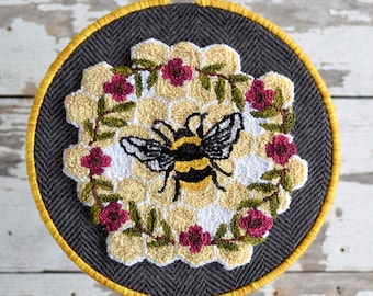 Bee Kind Punch Needle Pattern + Fabric