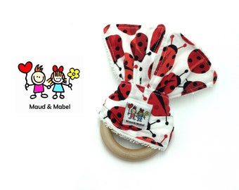 ON SALE - Lady Beetles - Handmade Baby Teether Toy, Baby Shower Gift