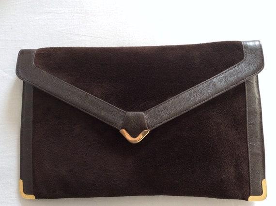 KORET Brown Suede Vintage Clutch Bag - Coffee-Brow