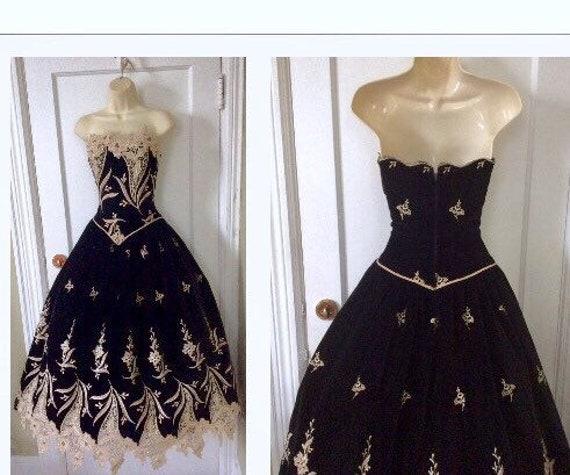 Arnold Scaasi Vintage Ball-Gown - Black/Gold Flor… - image 1