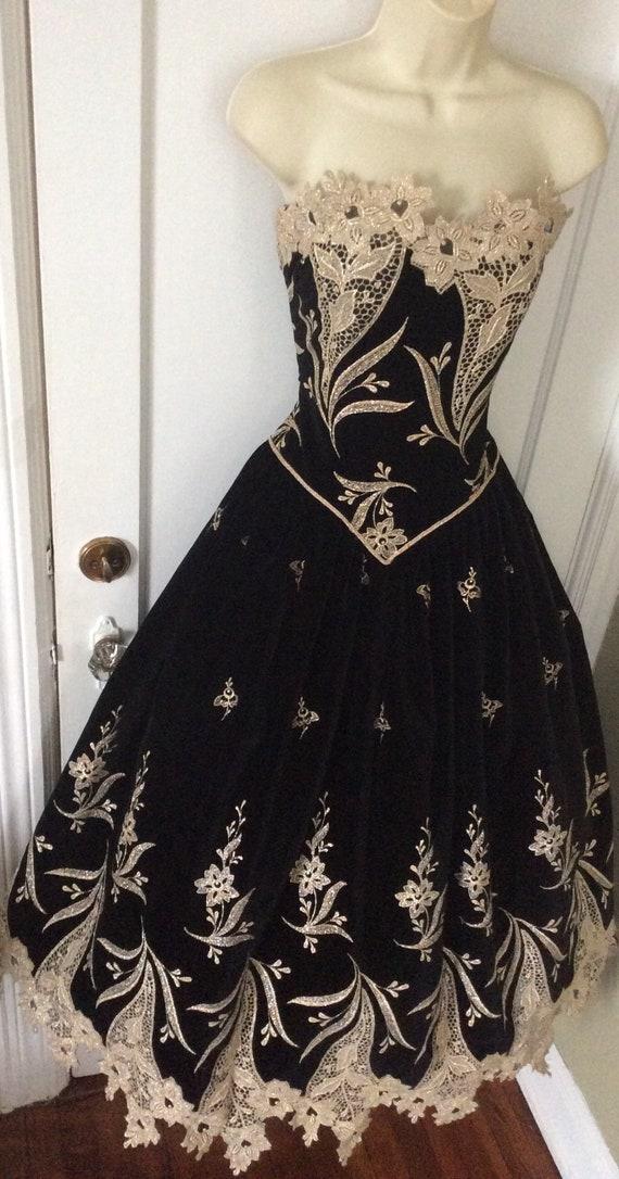 Arnold Scaasi Vintage Ball-Gown - Black/Gold Flor… - image 6