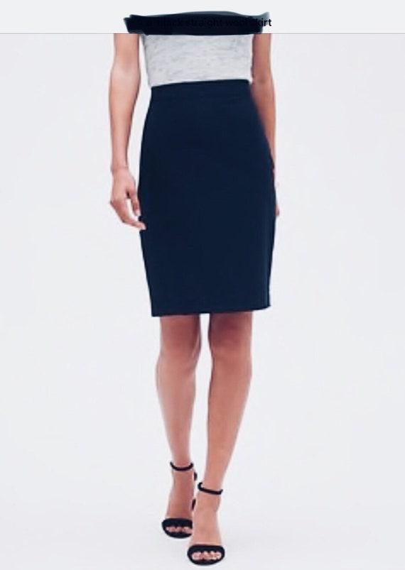 Black Christian Lacroix Skirt - Black Wool Straigh