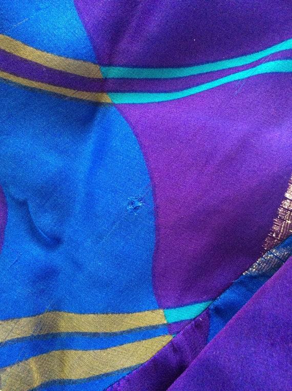 Pauline Trigere Vintage Dress - Purple/Blue/Gold … - image 8