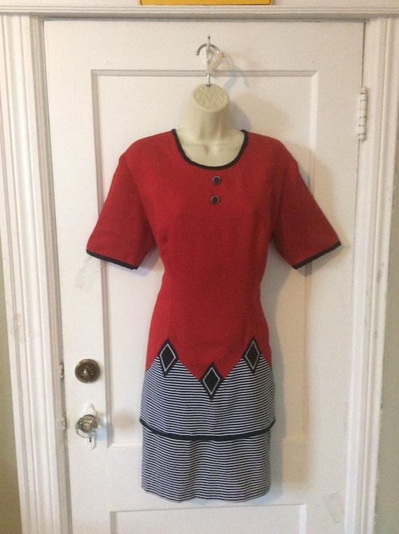 Paco Rabanne Dress - Red/Black/White Short-Sleeve
