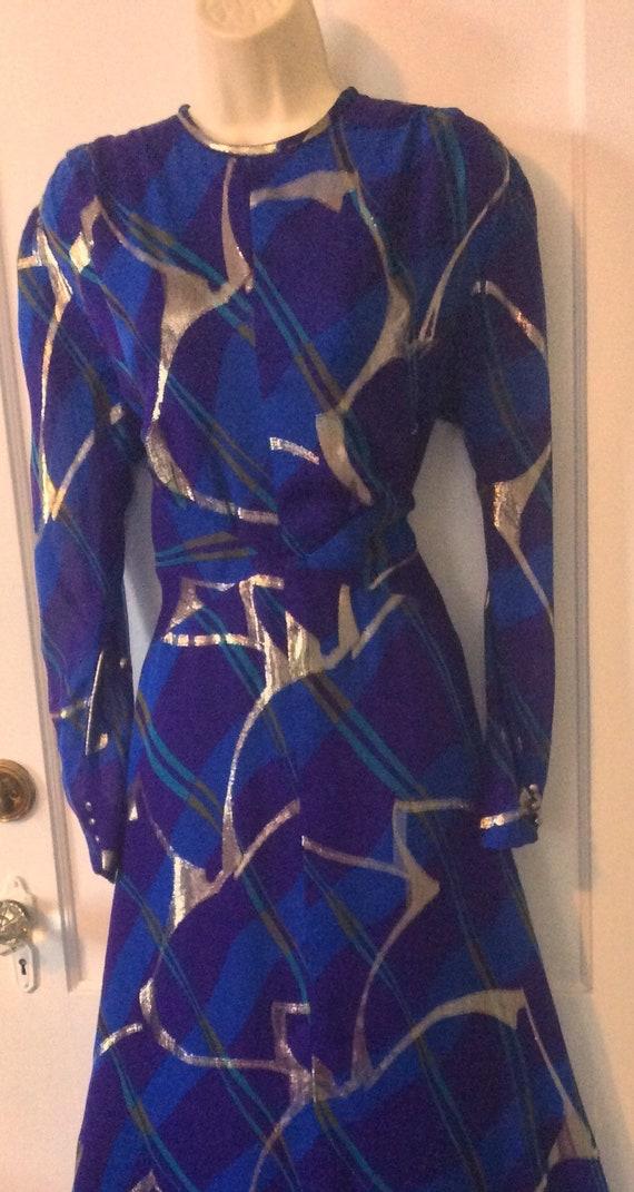 Pauline Trigere Vintage Dress - Purple/Blue/Gold … - image 3
