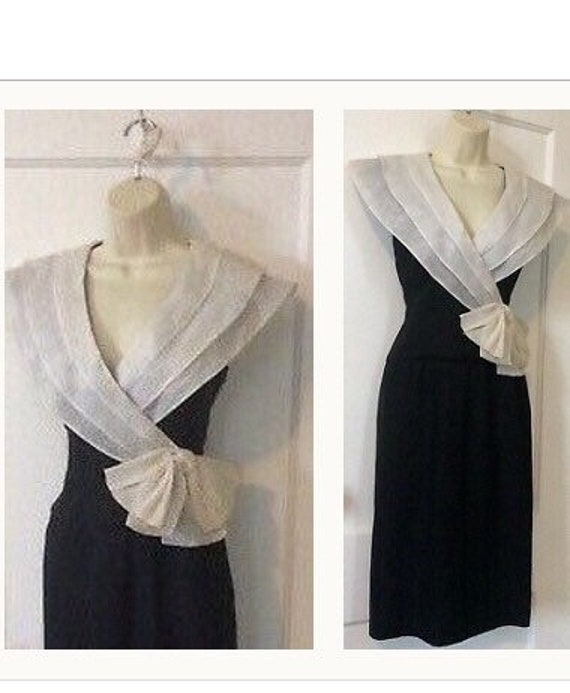 Albert Nipon Vintage Dress - BlackIvory Color-blo… - image 1