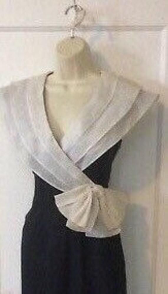 Albert Nipon Vintage Dress - BlackIvory Color-blo… - image 3