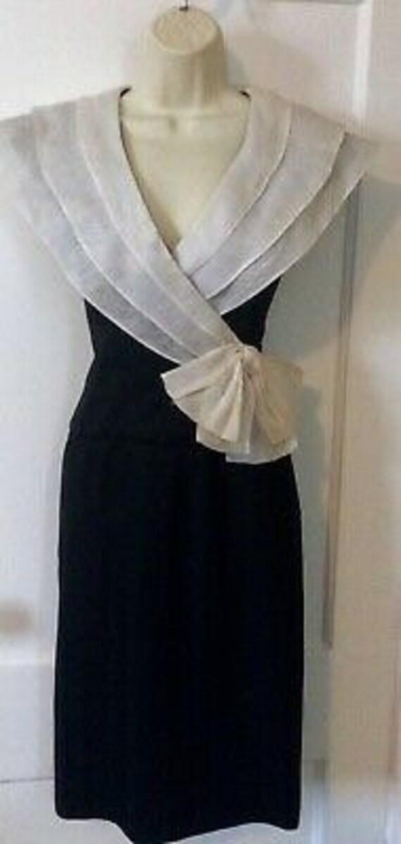 Albert Nipon Vintage Dress - BlackIvory Color-blo… - image 5