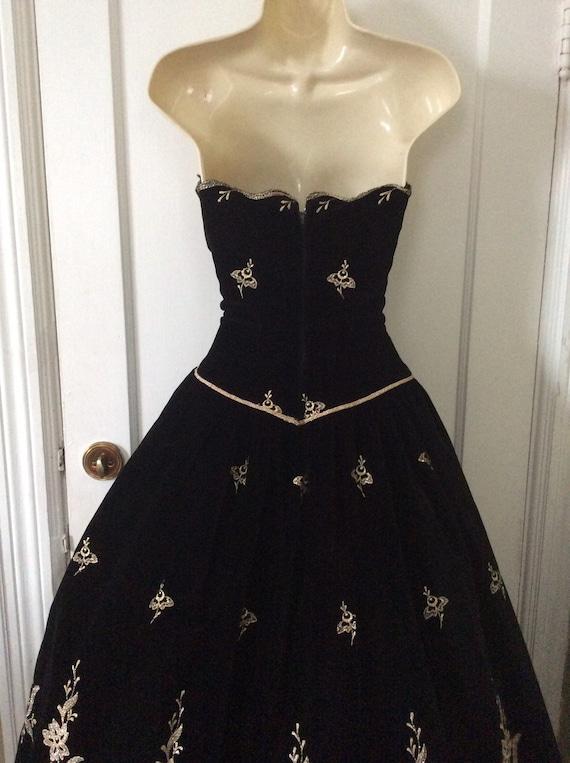 Arnold Scaasi Vintage Ball-Gown - Black/Gold Flor… - image 3