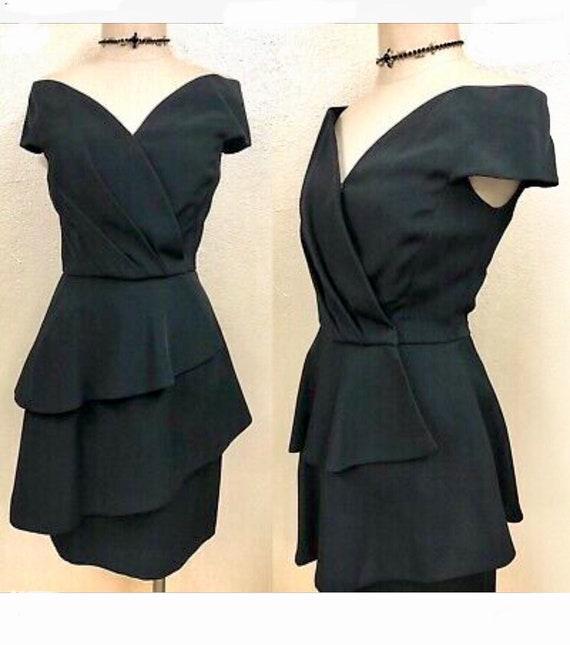 Scaasi Little-Black-Dress - Off-Shoulder 1980's Vi