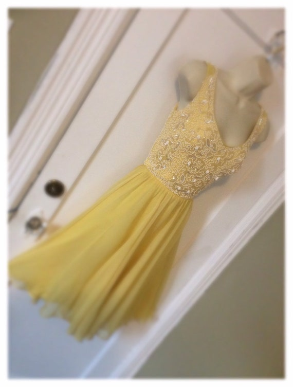 Robert Goldberg - Yellow Sequined/Beaded Chiffon-S
