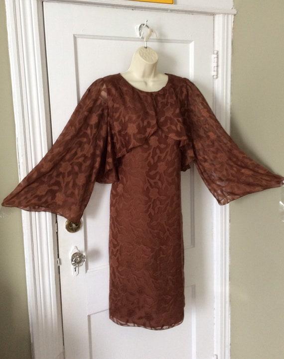 Hanae Mori Vintage Dress - Brown Bell-Sleeve Silk