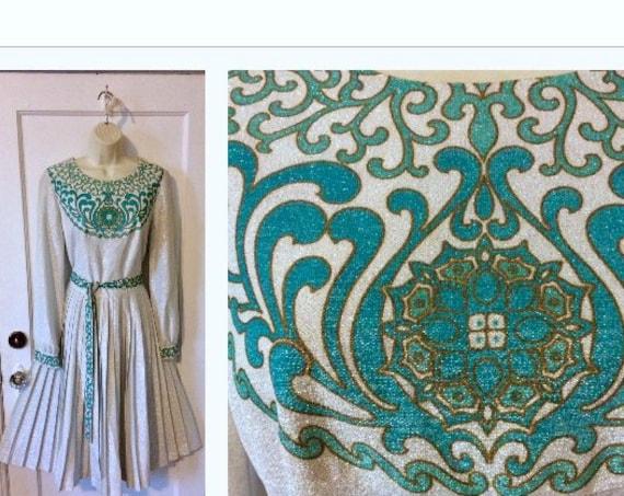 Alfred Shaheen Belted Midi Dress - Silver/Lurex/Te