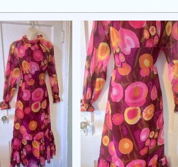 Pink Flower-Power Dress - Long Fuchsia/Violet 1960