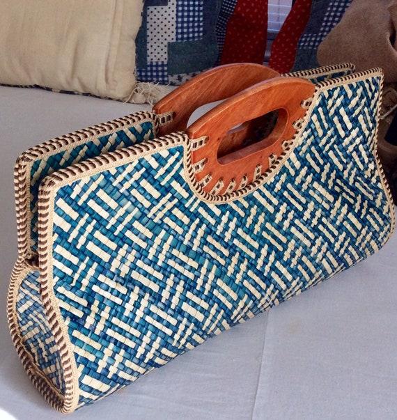 Vintage Woven Straw Wood Baguette Bag - Blue/Beige