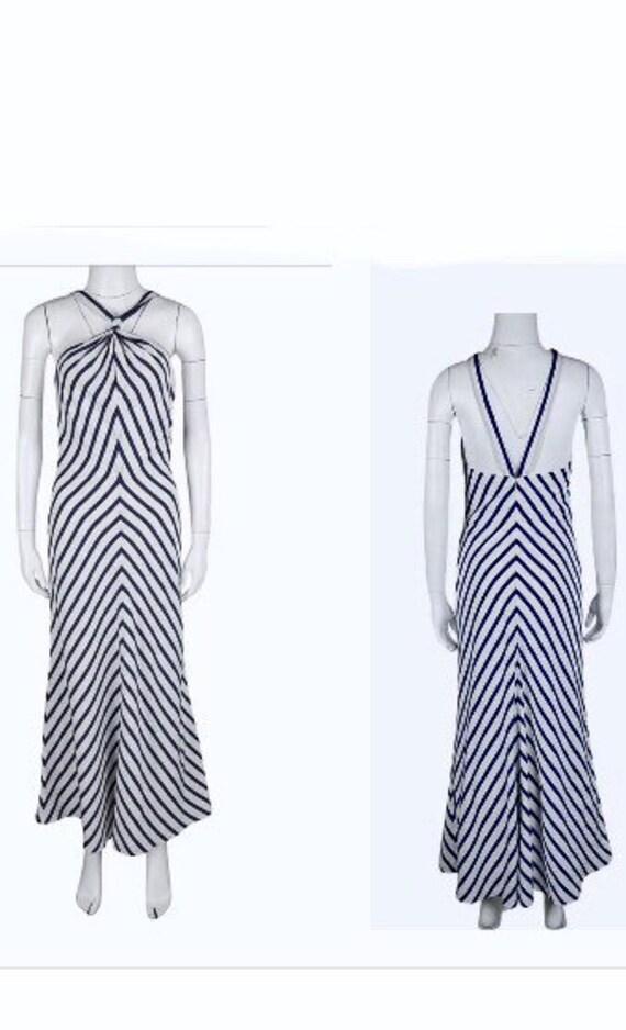 Ralph Lauren Halter Dress - Navy-Blue/Ivory Stripe