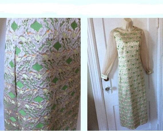 DYNASTY Green/Khaki Silk Brocade Vintage Dress - G