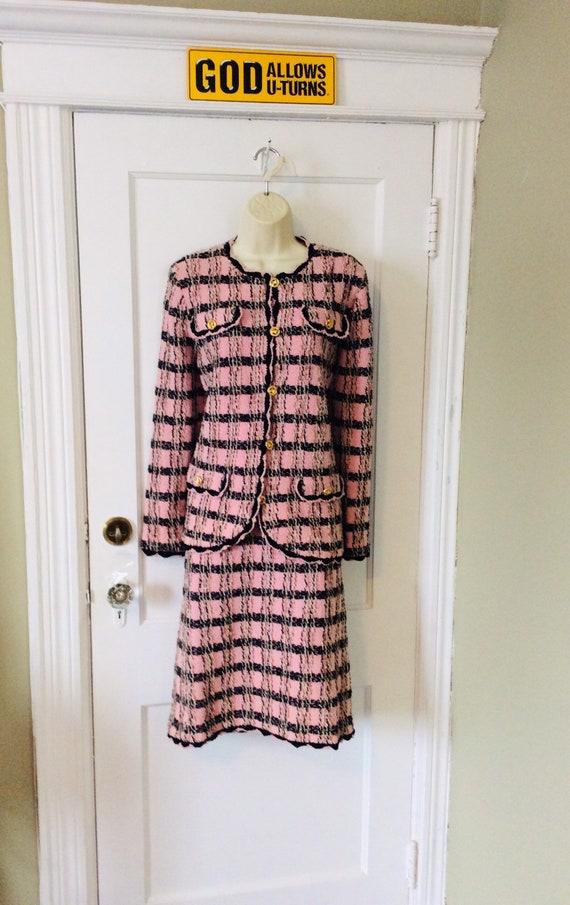 Adolfo Skirt-Suit - Pink/Black/Brown Nubby Boucle