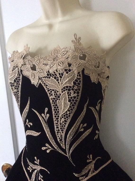 Arnold Scaasi Vintage Ball-Gown - Black/Gold Flor… - image 4
