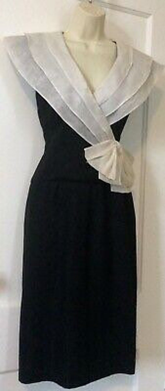 Albert Nipon Vintage Dress - BlackIvory Color-blo… - image 4