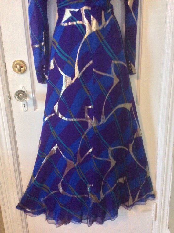 Pauline Trigere Vintage Dress - Purple/Blue/Gold … - image 4