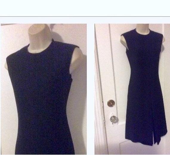 Mollie Parnis Vintage Dress - Black Wool Sleeveles