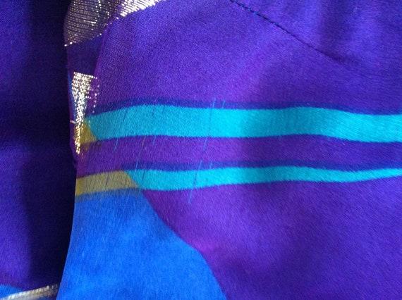 Pauline Trigere Vintage Dress - Purple/Blue/Gold … - image 9
