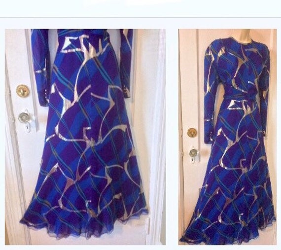 Pauline Trigere Vintage Dress - Purple/Blue/Gold A