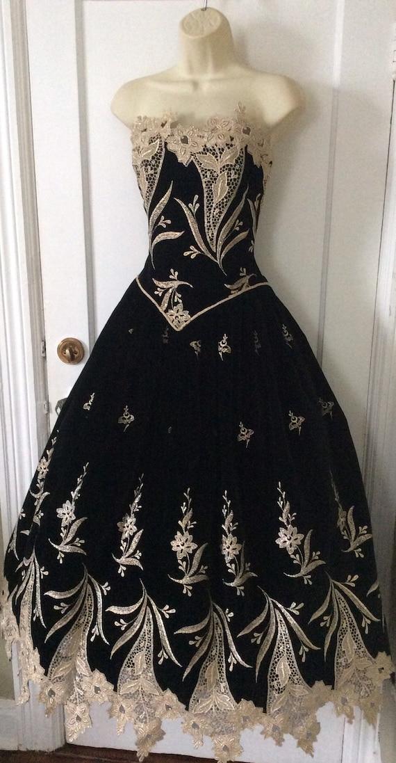 Arnold Scaasi Vintage Ball-Gown - Black/Gold Flor… - image 5