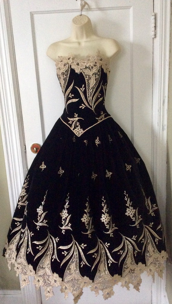 Arnold Scaasi Vintage Ball-Gown - Black/Gold Flor… - image 2