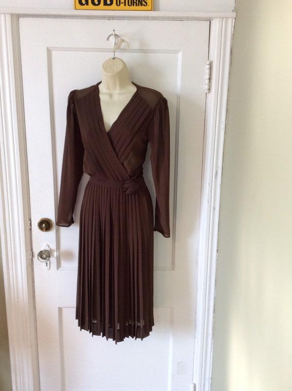 Albert Nipon Vintage Dress - Brown Pleated 1970's