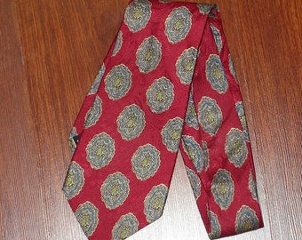 Christian Dior Silk Tie Mens Monsieur Vintage Paisley Neck tie Atomic Red Made USA Woven Italy