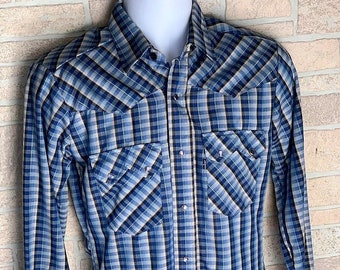 d6087312 Levi's Blue Shirt silver highlights mens vintage long sleeve plaid western pearl  snap small